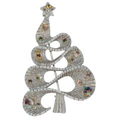 RARE Hollycraft Whitewashed Curling Ribbon Christmas Tree Pin ~ Book Piece