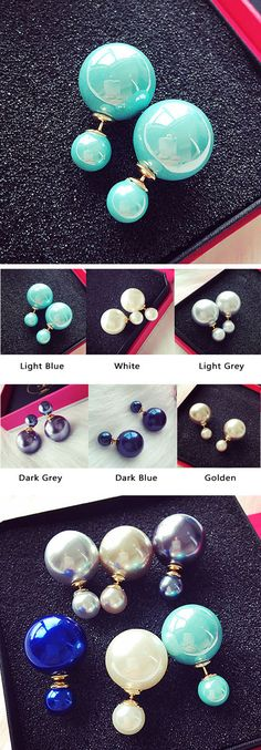 Fashion Pure White Pearl Girl Earring Double Pearl Earring Studs only $9.99