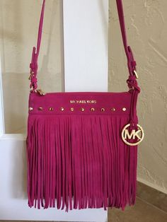 Michael Kors Billy Fringe Small Messenger Crossbody Raspberry 30T4SBIM1S #MichaelKors #MessengerCrossBody