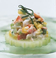 Fresh and flavorful Lobster Salad Canapes #recipe #horsd'oeuvres         Lobster Salad Canapes Recipe  at Epicurious.com