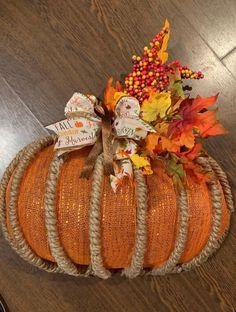 Dollar Tree Pumpkins, Dollar Tree Decor, Dollar Tree Crafts, Dollar Tree Fall, Dollar Tree Halloween Decor, Pumpkin Wreath, Wreath Fall, Fall Mesh Wreaths, Fall Deco Mesh