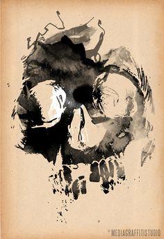 JOLLY ROGER black Pirate Skull brown vintage macabre man cave decor art illustration 24x36. via Etsy.