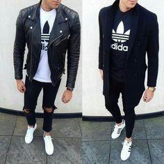 Sport chic men looks, urban fashion, men's fashion, fashion tips, fashion trends Look Fashion, Urban Fashion, Daily Fashion, Men Street, Street Wear, Looks Adidas, Mode Alternative, Mode Man, Style Masculin