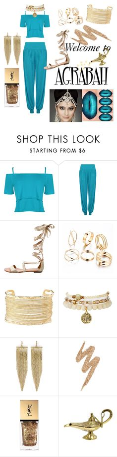 """""""Aladdin Genie"""" by emma-on-broadway ❤ liked on Polyvore featuring WearAll, Carrano, Charlotte Russe, Kenneth Jay Lane, Urban Decay and Yves Saint Laurent"""