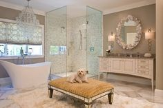 A deep-pile rug and mirrored pouffe are perfect partners for a glamorous bathroom. Description from houzz.com. I searched for this on bing.com/images