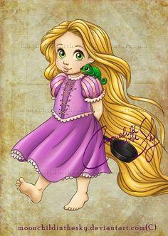 Baby Rapunzel (and Pascal) - Disney Princess Disney Rapunzel, Rapunzel Flynn, Disney Babys, Film Disney, Princess Rapunzel, Disney Fan Art, Disney Girls, Disney Love, Repunzel Tangled