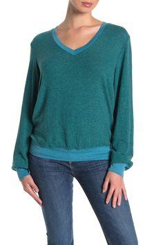 Wildfox Baggy Beach V-neck Sweatshirt In Tide Wildfox, World Of Fashion, Nordstrom, V Neck, Pullover, Sweatshirts, Beach, Long Sleeve, Sleeves