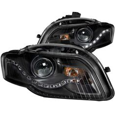 Anzo 121318 | 2008 Audi A4 Black LED Projector Headlights for Coupe/Sedan/Hatchback/Wagon