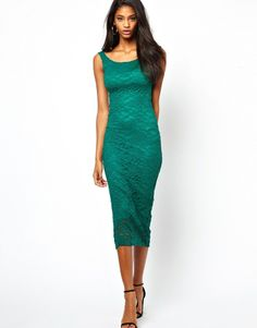 Asos Lace Bardot Midi Dress on shopstyle.co.uk