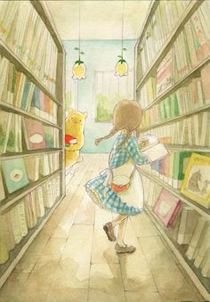 Pooh in the library