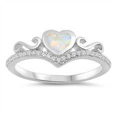 Blue Lab Opal Heart White CZ Promise Ring .925 Sterling Silver Band Sizes 4-12