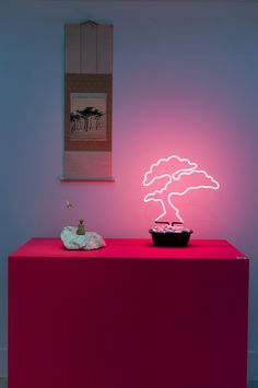 *** pink neon bonsai - Design At Home  ...I like this in a silly way. :)