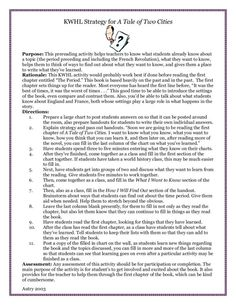 a tale of two cities lesson plans lesson plans  kwhl strategy for a tale of two cities lesson plan lesson planet