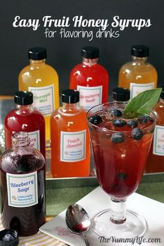 8 Natural Fruit and Herb Honey Syrups For Flavoring Drinks...perfect for flavored water and iced tea!
