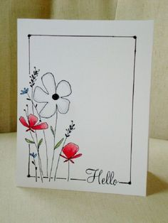 You might also make the cards with your own hands. You don't need to be handmade cards for everybody. Handmade cards are not only personal by they help create a unique bond involving you and friends and family. Cute Cards, Diy Cards, Karten Diy, Watercolor Cards, Watercolour, Flower Cards, Creative Cards, Greeting Cards Handmade, Scrapbook Cards