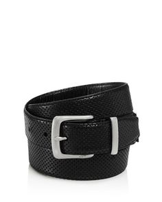 John Varvatos Star Usa Reversible Perforated Croc Embossed Leather Belt