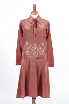 Dress ca 1926  A day or cocktail dress of light, pinkish brown silky Celanese rayon.