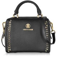 Roberto Cavalli Handbags Boston Mini Black Leather Handbag (1,800 CAD) ❤ liked on Polyvore featuring bags, handbags, shoulder bags, black shoulder handbags, man bag, leather handbags, leather purse and handbags shoulder bags