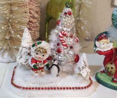 Cute Eskimo Girl Penguin Vintage Ornaments Bottle Brush Tree Christmas Scene | eBay