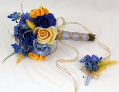 Yellow, Blue Rose Wedding Bouquet, Boutonniere