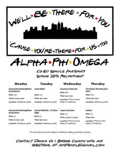 """""""Want to join the only co-ed service fraternity on campus? Come hear more about ΑΦΩ during Recruitment Week!"""" Temple University (Zeta Iota Chapter)"""