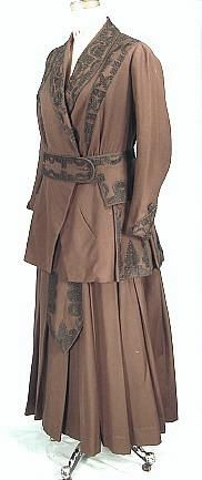 c. 1916 Miss Penfield's Walking Suit of Chocolate Brown Ratine with Black Soutache from F. SQUARENINA & Co. The material is called ratine, but it's a midweight twill of perhaps a wool/silk blend. The black soutache trim design is fabulous! Front sideway