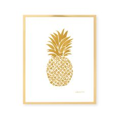 Gold Pineapple Print. Perfectly chic to frame anywhere!Printed on premium matte paper with archival inks and includes a slight bleed and white border for framing. Ships flat in a protective sleeve and rigid mailer.Detail: Digital matte brushed gold illustration with white background.Prints are made to order and will be produced