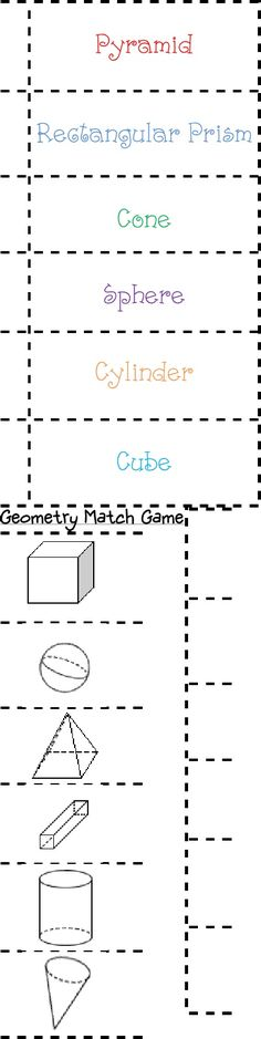geometry match for Math Journals
