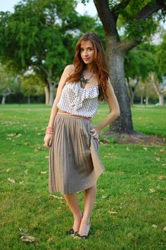 pleated skirt and polka dots