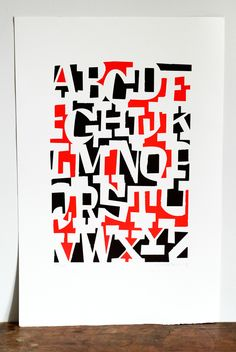 "Negative space black, white, and red alphabet. ""ABCDEFGHIJKLMNOPQRSTUVWXYZ"" by Cyrus Highsmith"