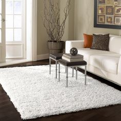 "nuLOOM Serano Shag White Area Rug & Reviews | Wayfair $108 for 5'3"" x8"". Good for under twin bed."