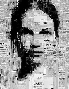 """-Sergio Albiac- (série) """"You are not in the news"""" Generative collage Collage Kunst, Art Du Collage, Collage Portrait, Collage Artists, Portraits, Text Portrait, Collage Design, Digital Collage, Glitch Art"""