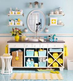 Help a small bath look and feel larger by removing the cabinet doors on an existing vanity. Add shelves as needed to keep the cabinet interiors neat and organized. Fill the shelves with color-coordinated baskets, storage bins, and bath towels to give the open cabinetry a cohesive look./