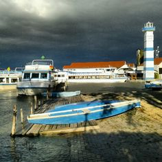 Stormy afternoon at the boat yard; Mörbisch, Lake Neusiedler See, Austria