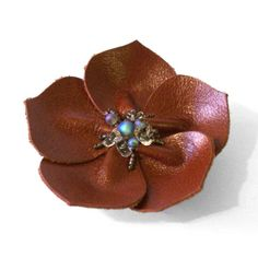 Beaded Leather Flower Pin ❤ by Viridian on Etsy