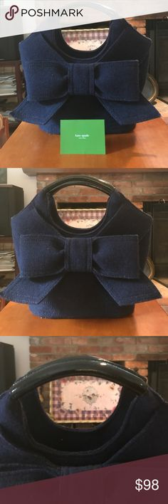 NWOT Kate Spade Bow Handbag Brand new, perfect bag for fall and winter!! Received as a gift and never been used. Navy wool with black patent leather accents, and black and white lining on the interior. Small pocket on the inside, a perfect bag to finish off your outfit! Beautiful stitching along the bottom. See last photo for proportions! kate spade Bags Shoulder Bags
