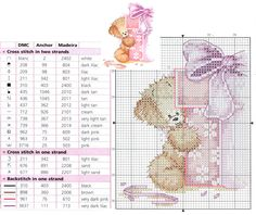 Cross Stitch Card Shop Bear with gift