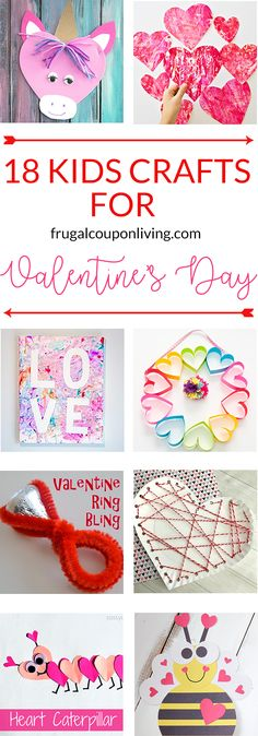 From classroom activities to handmade Valentines to play at home kids will love to make these 18 super cute DIY craft projects. Each of these Valentine crafts is easy enough for most ages to enjoy making. #valentinesday #kidscrafts #diyvalentines #crafts #valentine #valentinecrafts #valentinesdaycrafts #craftsforkids