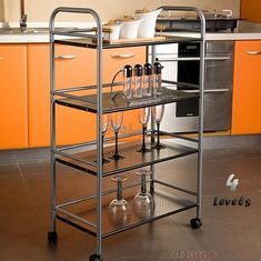 4 Tier Steel Multipurpose Storage Shelf/ Kitchen Service Trolley