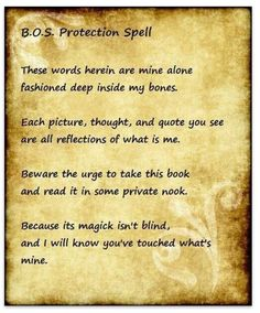 BOS  protection spell  From Grimiore of a Modern Witch (on FB)