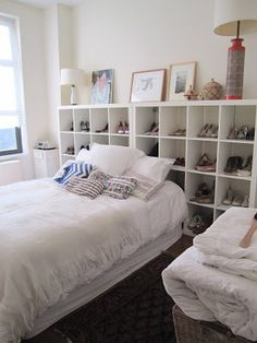 Two Expedits Double As A Headboard And Shoe Storage