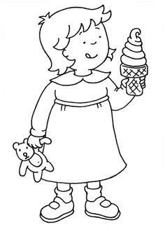 Kleurplaat; Meisje met ijsje
