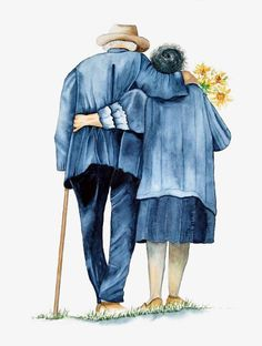 True Love Is Growing Old Together Couples Âgés, Vieux Couples, Couple Painting, Diy Painting, Growing Old Together, Old Age, Getting Old, Alter, Watercolor Paintings