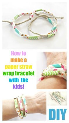 DIY _ How to make a paper straw wrap bracelet with the kids