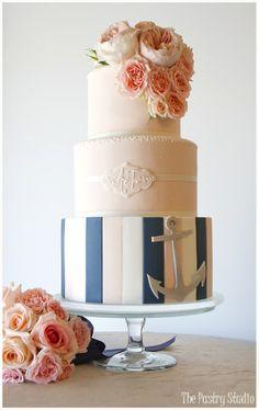 peach and navy nautical cake