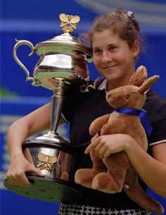 Monica Seles after winning the Australian Open in 1996