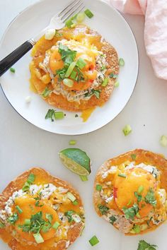 Tuna Melt Tostadas are so easy to make and are the perfect dinner for using up items from your pantry! Grab tortillas, tuna, mayo, cilantro, scallions, cheese, and lime. Happy Dinner cooking! www.ChopHappy.com #tostada #tunamelt Cheesy Recipes, Top Recipes, Seafood Recipes, Healthy Recipes, Dinner Recipes Easy Quick, Easy Meals, Tuna Mayo, Tuna Melts, Sandwiches For Lunch