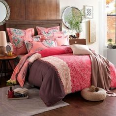 Coral Red and Brown Color Block Western Tribal Print Abstract Design Exotic Warm Color 100% Brushed Cotton Full, Queen Size Bedding Sets