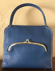 26be66dd4cb1 Vintage Coach Bonnie Cashin Blue Leather Bag Made in NYC 1960 s.  Collectible bag  BonnieCashinforCOACH