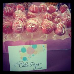 """Cake Pops! """"she's ready to pop"""" was the theme for my friends baby shower"""
